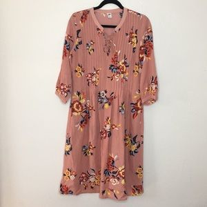 Blush pink floral pleated lace up dress L tall